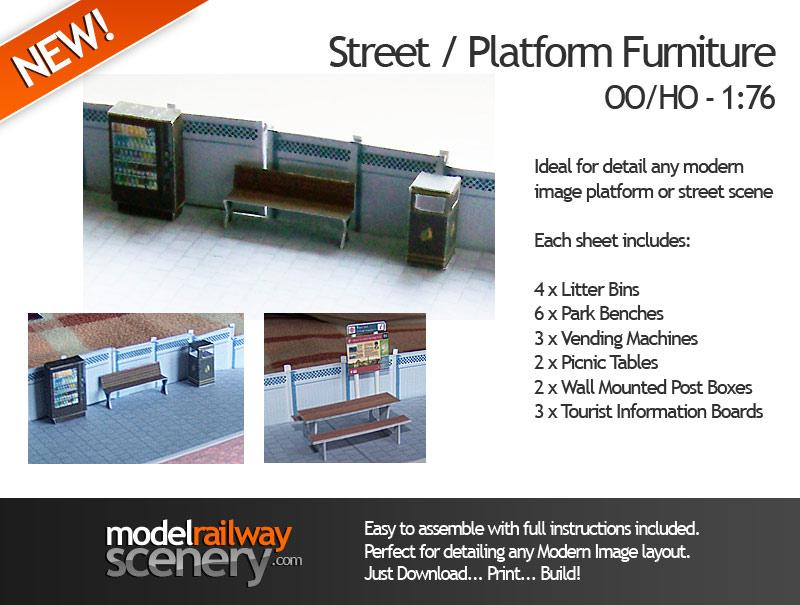 Modern image street platform furniture oo scale for Scale model furniture